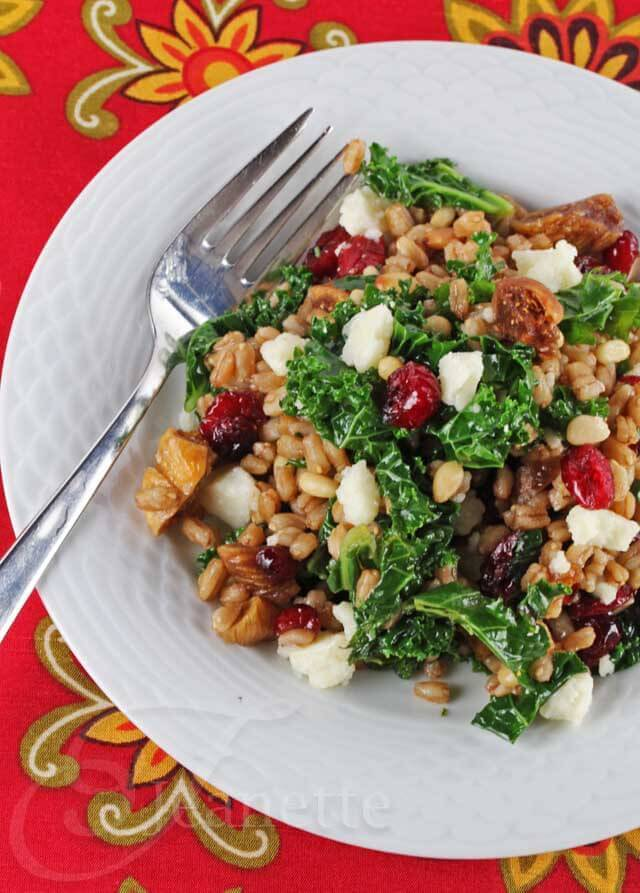 Kale Farro Winter Fruit Salad © Jeanette's Healthy Living