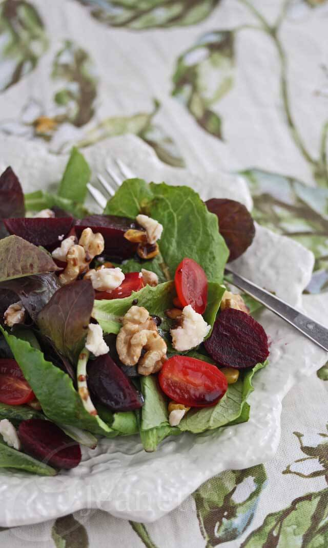 Roasted Beet, Grilled Corn, Tomato Salad with Montamore Cheese and Walnuts Recipe