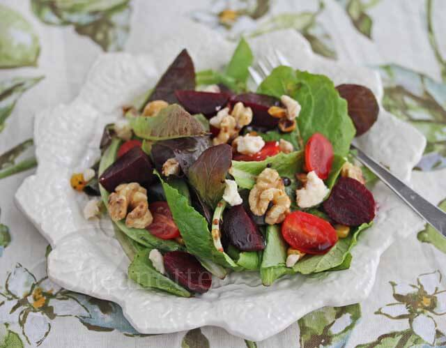Roasted Beet Grilled Corn Tomato Walnut Salad © Jeanette's Healthy Living