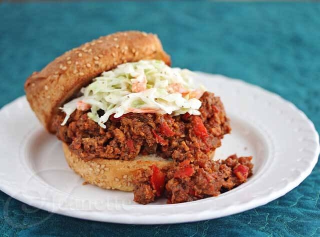 Healthier Sloppy Joes with Coleslaw © Jeanette's Healthy Living