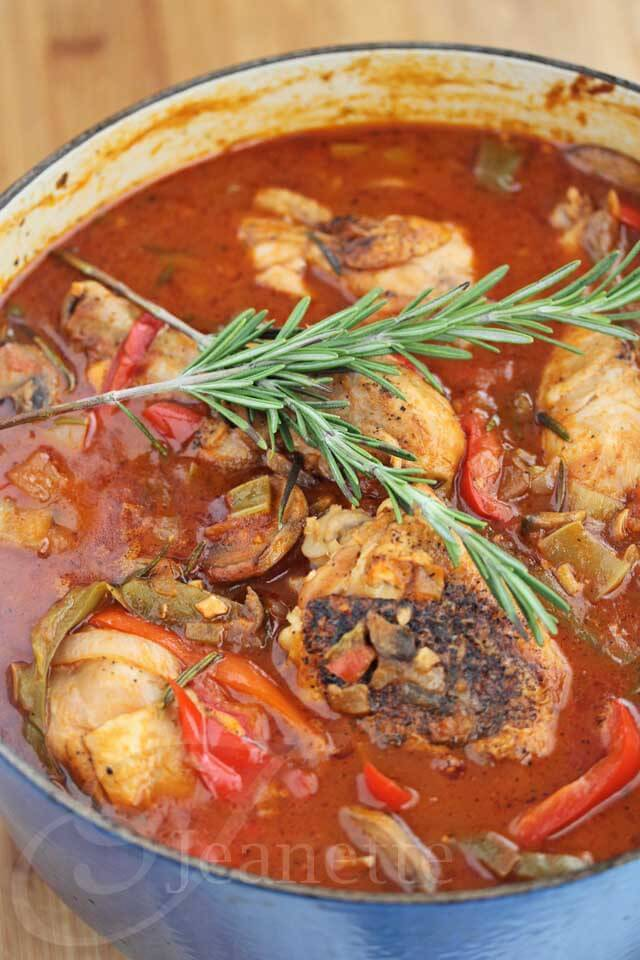 Oven Braised Chicken Cacciatore with Rosemary © Jeanette's Healthy Living