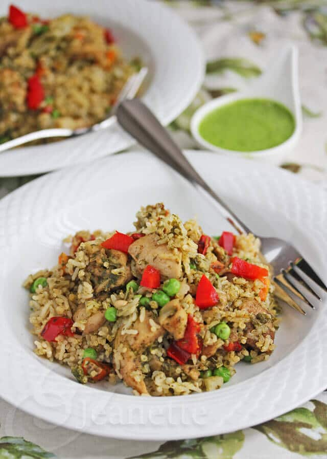 Healthier Peruvian Green Chicken with Rice and Quinoa Recipe (Arroz ...