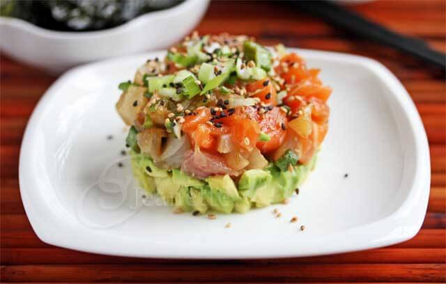 Mixed fish and avocado poke tower recipe deconstructed for Big fish little fish poke