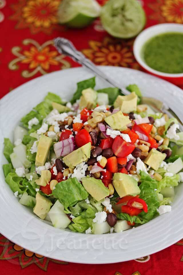 Mexican Chopped Salad with Cilantro Lime Vinaigrette © Jeanette's Healthy Living