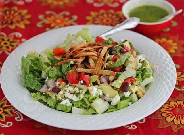 Mexican Chopped Salad with Lime Cilantro Dressing © Jeanette's Healthy Living