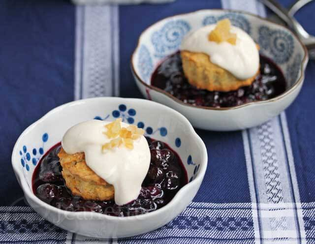 Gingered Blueberry Shortcakes with Light Creamy Topping © Jeanette's Healthy Living