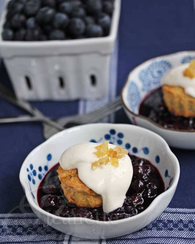 Gingered Blueberry Shortcakes with Light Creamy Topping Recipe