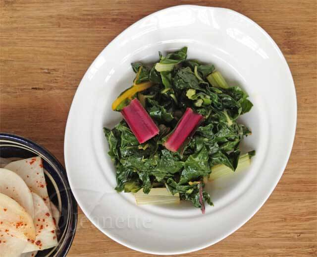 Steamed Swiss Chard with Soy Sesame Sauce Recipe