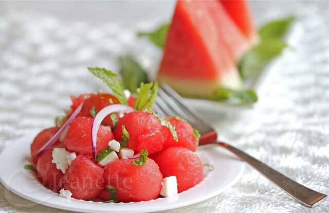 Greek Watermelon Mint Feta © Jeanette's Healthy Living
