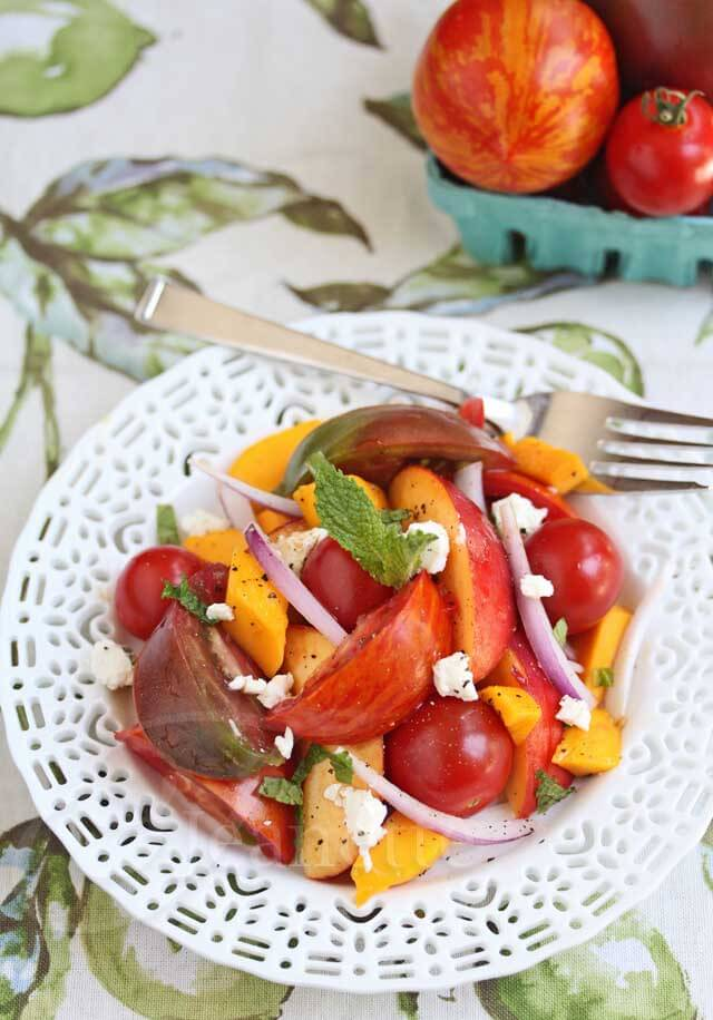 Heirloom Tomato Nectarine Mango Salad © Jeanette's Healthy Living