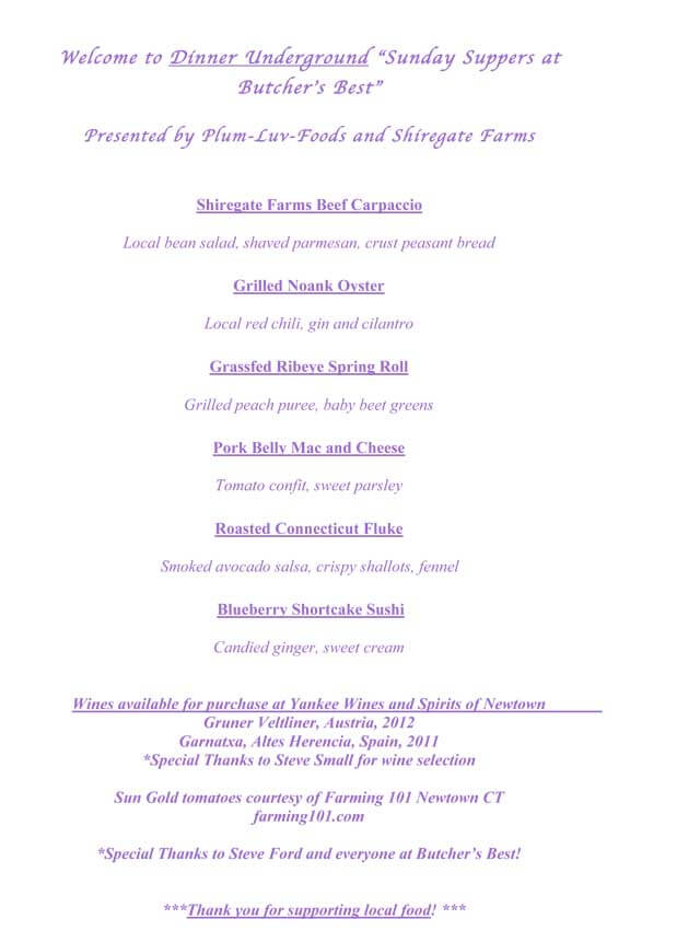 Chef Plum Underground Dinner Menu