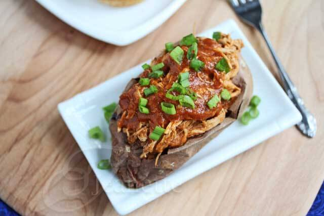 Pulled Chicken Stuffed in Sweet Potato © Jeanette's Healthy Living