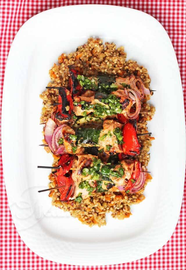 Chili Garlic Greek Yogurt Chicken Kebabs with Chimichurri Sauce