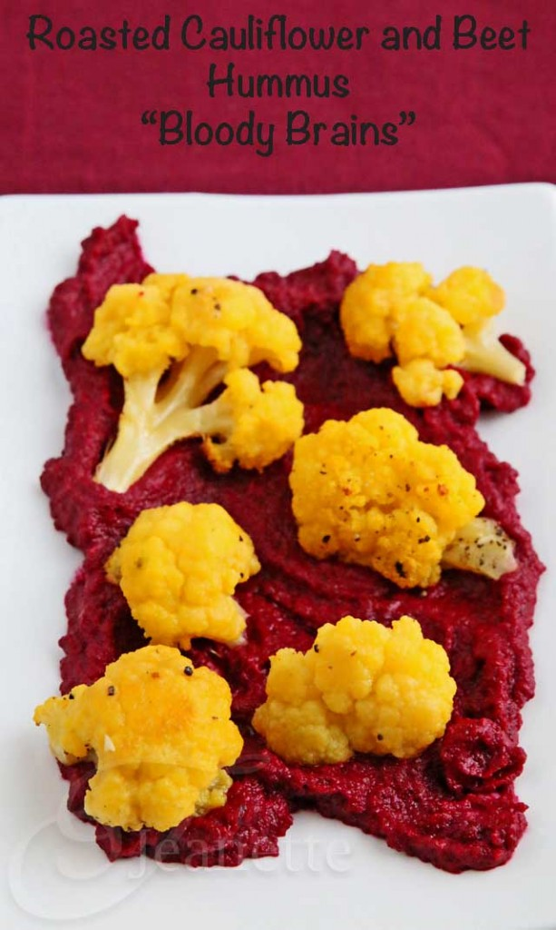 Bloody Brains Roasted Cauliflower and Beet Hummus