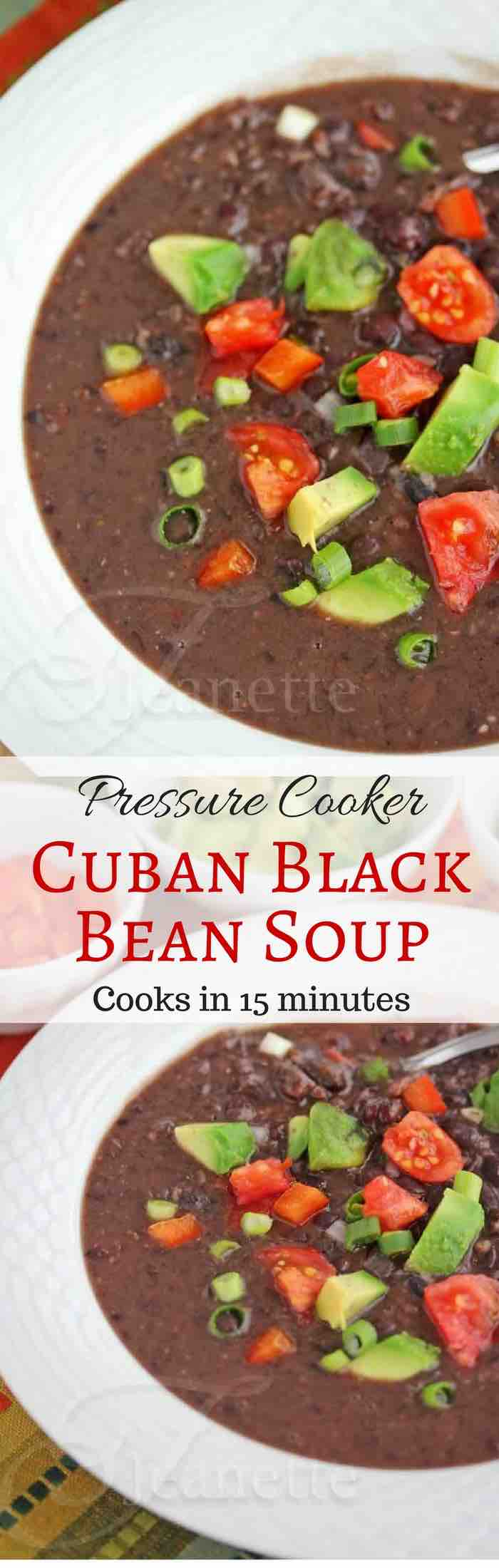 Pressure Cooker/Instant Pot Cuban Black Bean Soup - cooks in just 15 minutes - warm up with a bowl of this hearty healthy soup