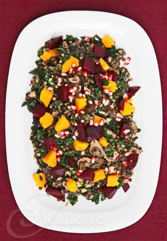 Lentil Kale Whole Grain Beet Winter Squash Mushroom Salad ~ http://jeanetteshealthyliving.com