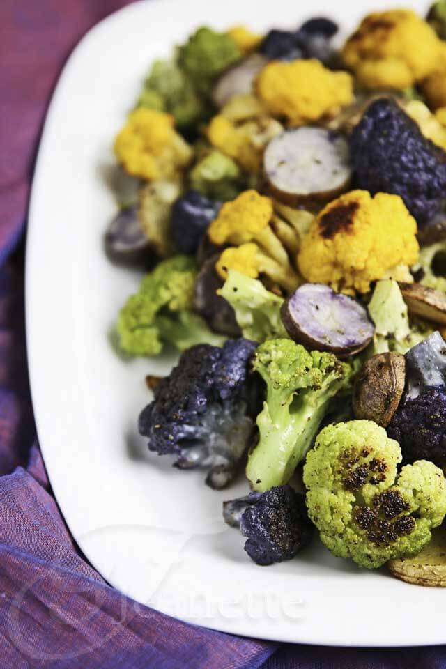 Roasted Rainbow Cauliflower and Potatoes