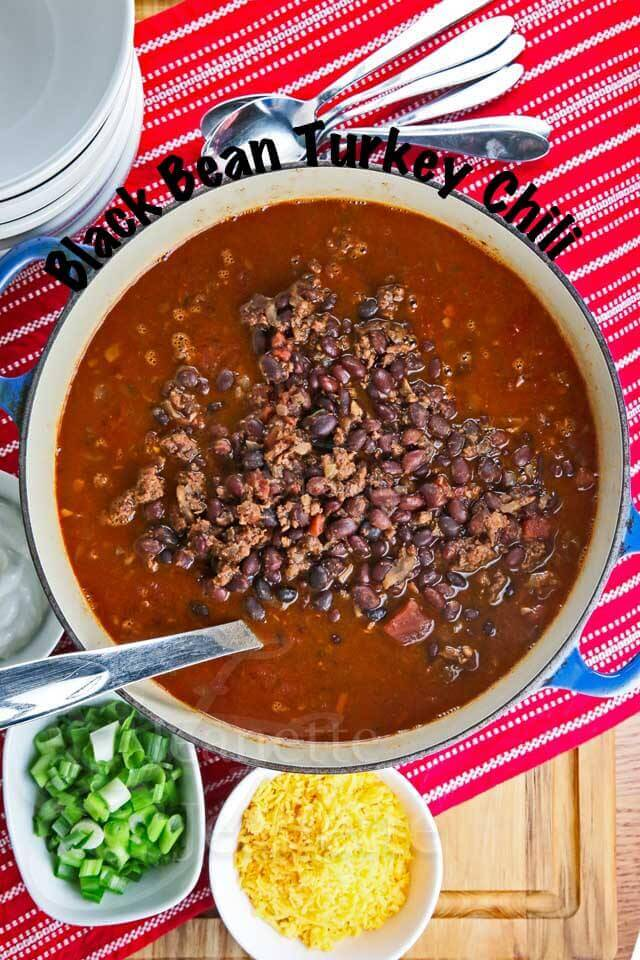 Slow Cooker Black Bean Turkey Chili - this chili is healthy and hearty, the perfect winter meal and it freezes well