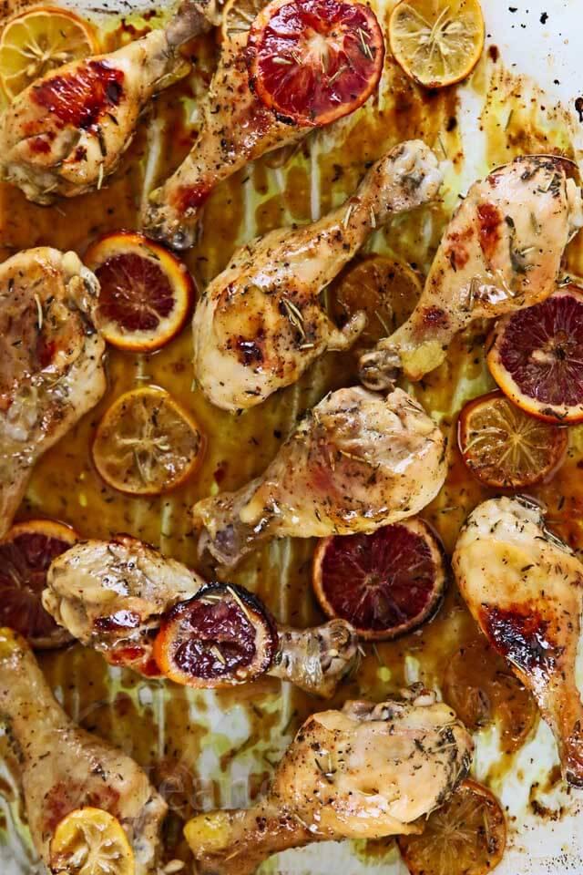 Meyer Lemon Blood Orange Glazed Roast Chicken