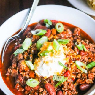 Slow Cooker Black Bean Turkey Chili - budget-friendly, delicious and a crowd pleaser - great for parties and family gatherings