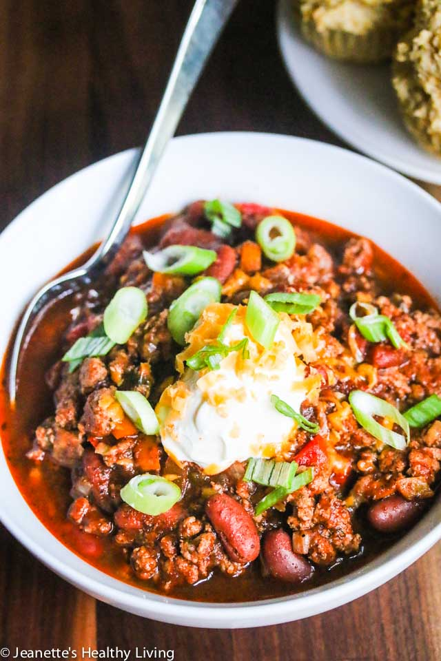 Slow Cooker Turkey Bean Chili - budget-friendly, delicious and a crowd pleaser - great for parties and family gatherings