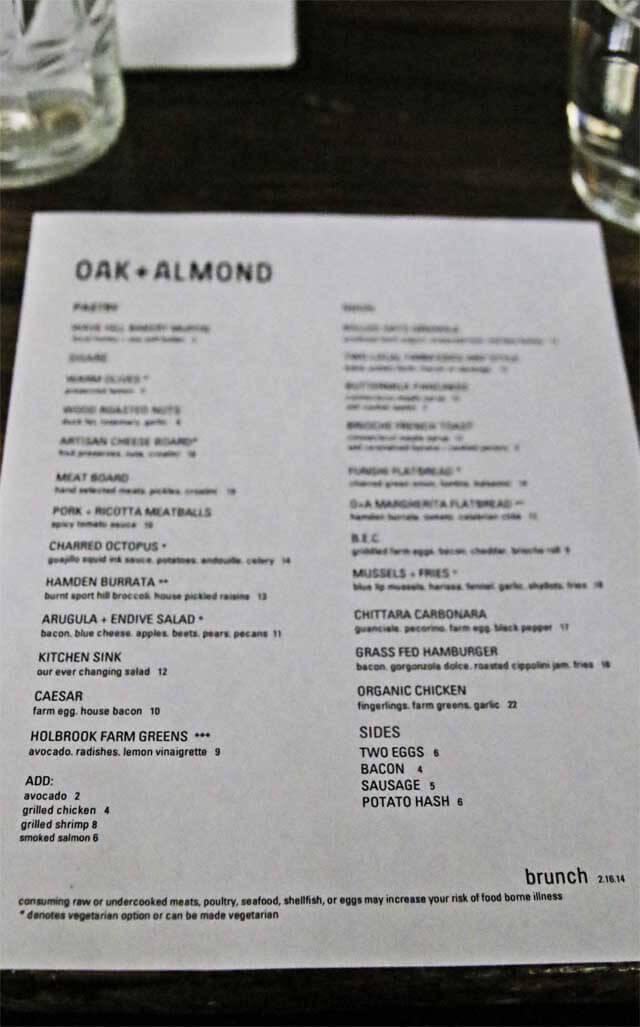 Almond Oak Menu