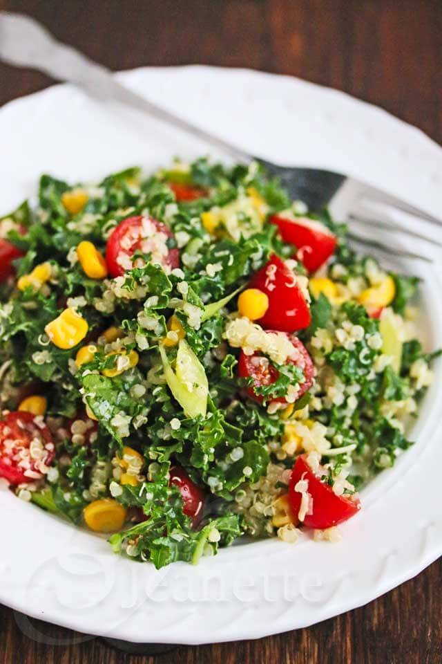 Quinoa Kale Tomato Corn Salad Recipe {Video}Jeanettes Healthy