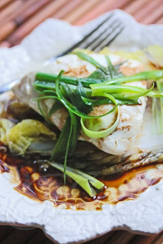 Chinese Steamed Fish with Soy Sesame Sauce