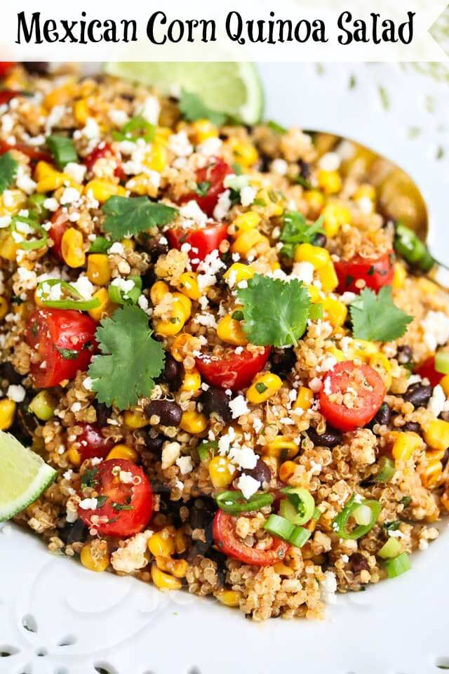 Mexican Corn Quinoa Salad - this festive summer salad is perfect for picnics and large gatherings. It's inspired by esquites, Mexican street corn