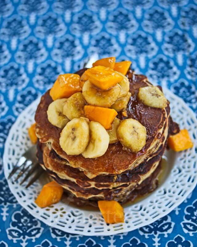 OatmealAlmond Pancakes with Maple Mango Banana Topping