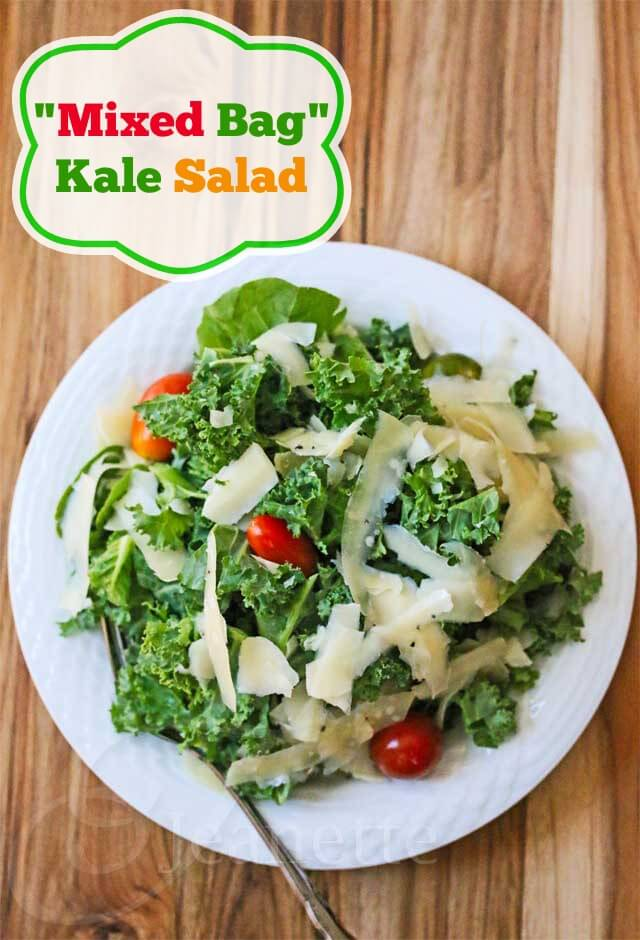"""Mixed Bag"" Kale Salad Recipe - this kale salad is topped with shaved Gruyere or Parmesan cheese and tomatoes and served with a light lemon dressing that is delightly light and satisfying - Jeanette's Healthy Living"
