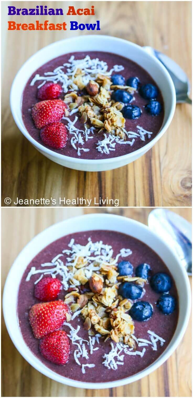 Brazilian Acai Breakfast Bowl - this is a refreshing and healthy breakfast, great for pre-workouts or to start your day off