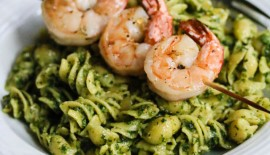Easy Grilled Garlic Chili Shrimp with Pasta and Pesto © Jeanette's Healthy Living