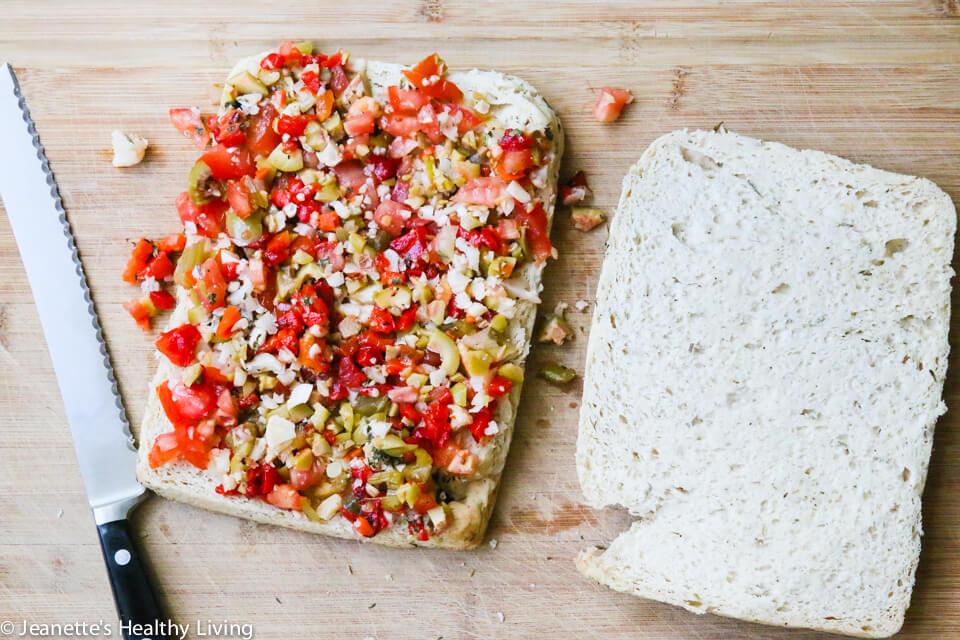 Muffaletta Olive Salad on Foccacia