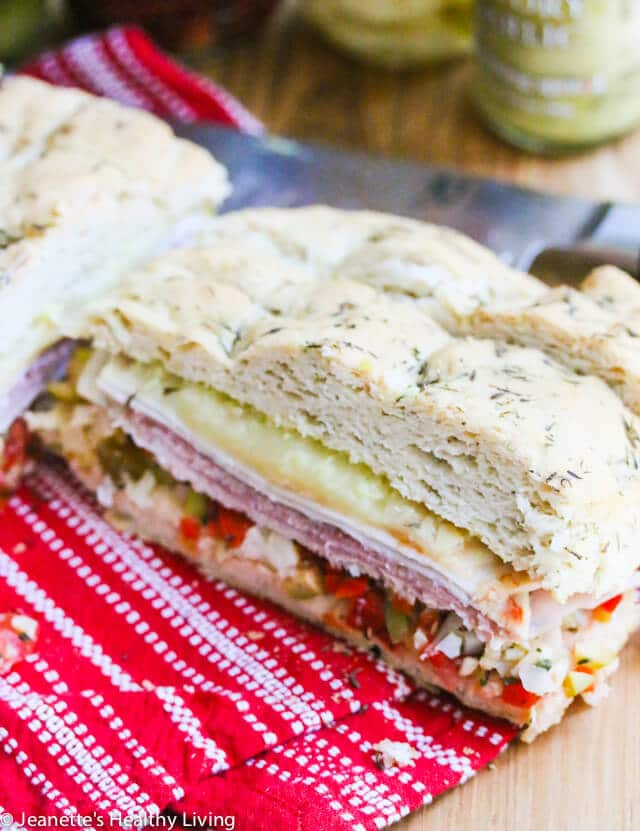 Muffaletta on gluten-free Foccacia © Jeanette's Healthy Living