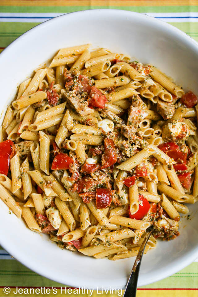 Pasta with Chicken, Pesto, Fresh and Sun Dried Tomatoes Mozzarella Cheese - a great way to use up leftover chicken