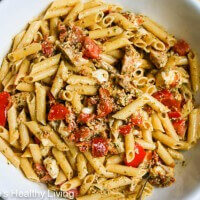 kitchen sink pesto pasta