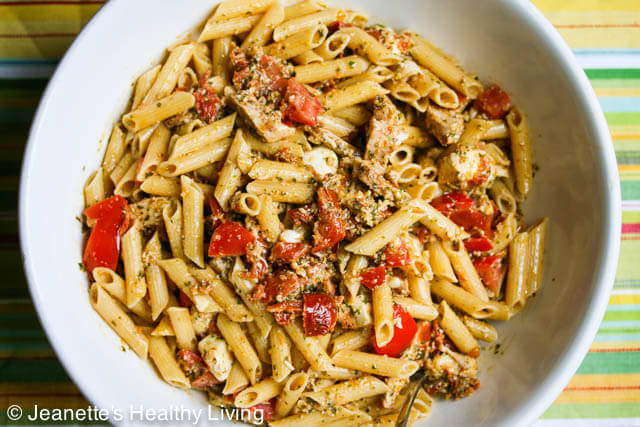 Pasta with Pesto, Fresh Tomatoes, Sun-Dried Tomatoes, Chicken and Mozzarella Cheese