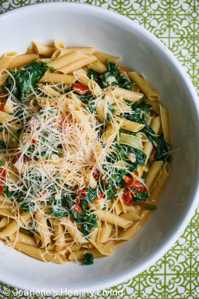 Spinach Tomato Parmesan Pasta © Jeanette's Healthy Living