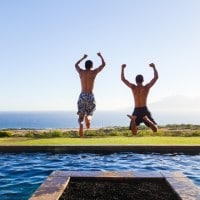 Twins jumping into pool © Jeanette's Healthy Living