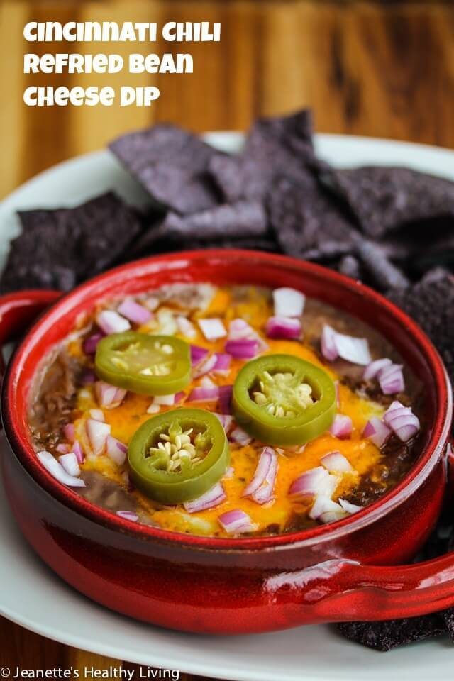 Perfect for Game Day! Cincinnati Chili Refried Bean Cheese Dip © Jeanette's Healthy Living