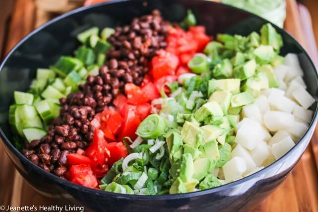 Mexican Chopped Salad with Creamy Cilantro Lime Greek Yogurt Avocado Dressing Recipe