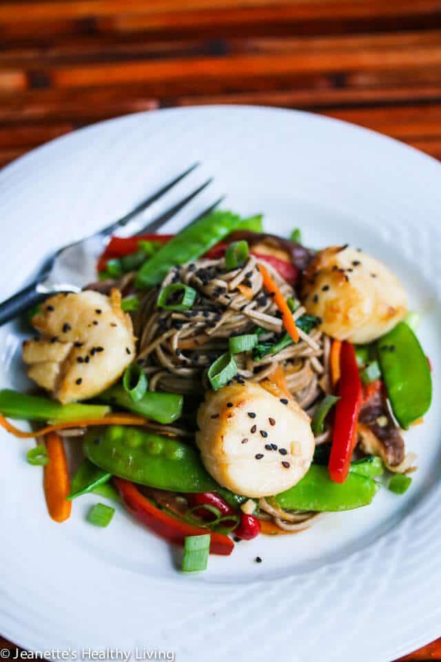 Miso Orange Glazed Scallops with Stir-Fry Vegetable Soba Noodles Recipe