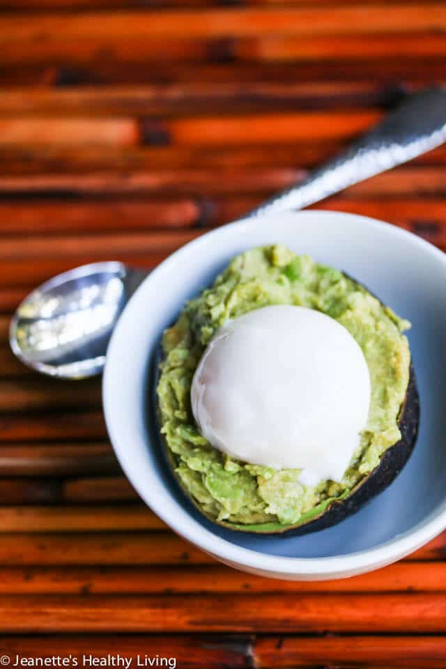 Smashed Miso Avocado and Poached Egg in a Cup © Jeanette's Healthy Living