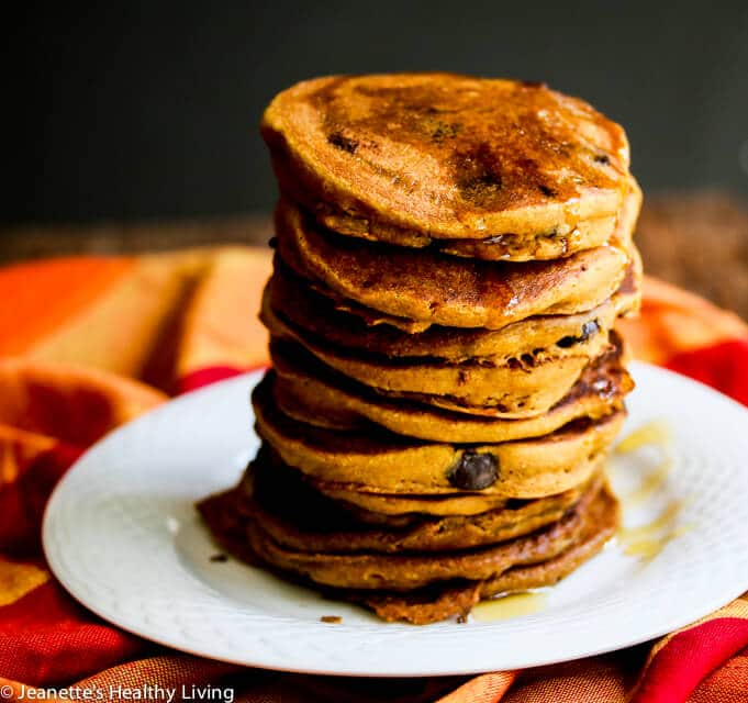 Gluten-Free Pumpkin Spice Oat Chocolate Chip Pancakes Recipe
