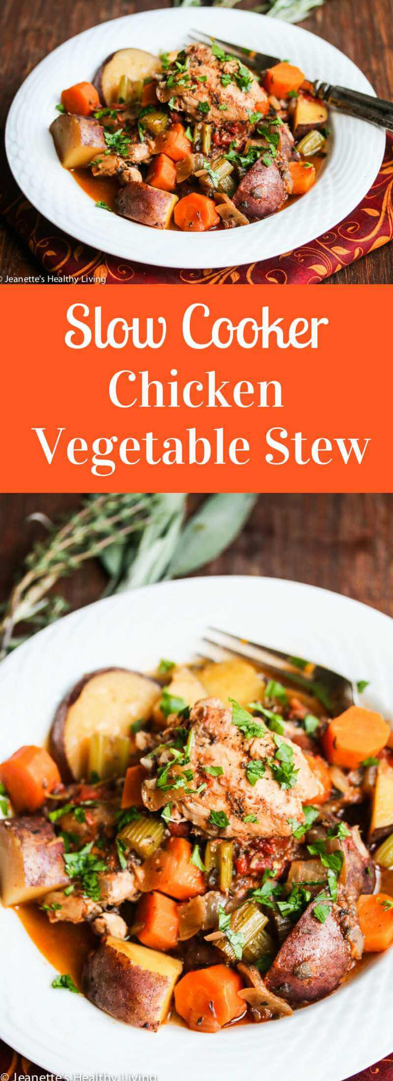 GSlow Cooker Chicken Vegetable Stew Recipe - learn what vegetables, herbs and spices go well in chicken stew, and how to make a healthy chicken stew ~ http://jeanetteshealthyliving.com