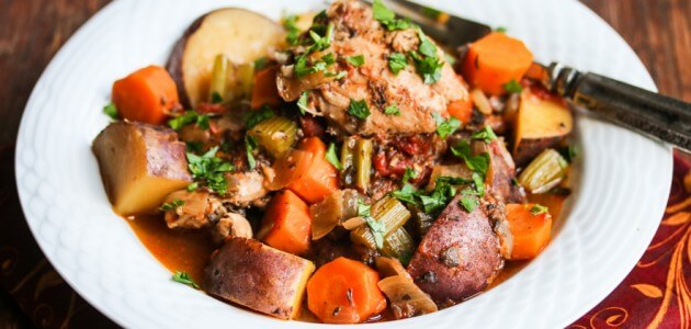 Slow Cooker Chicken Vegetable Stew with Rosemary, Thyme and Sage Recipe