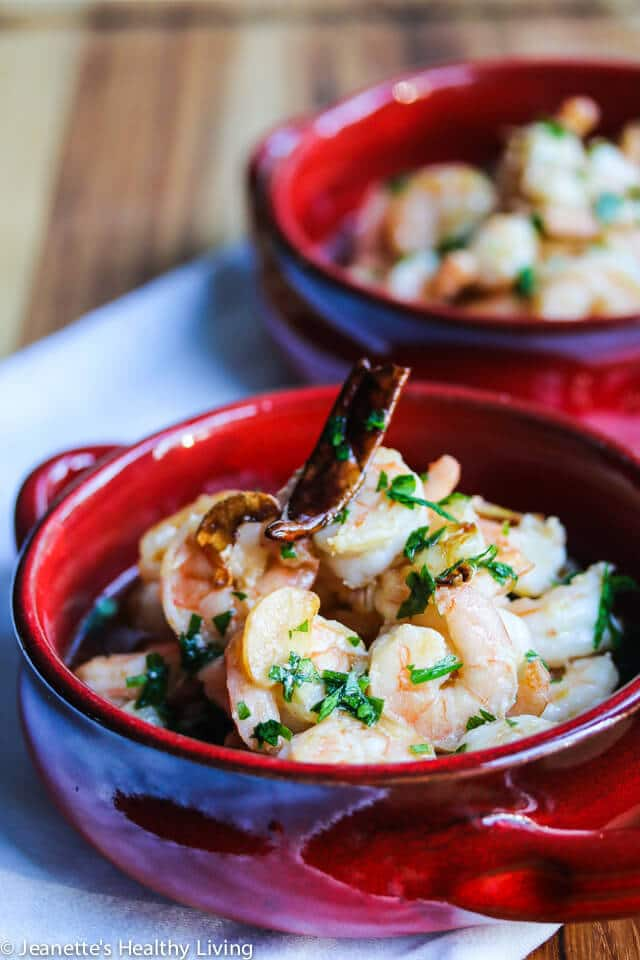 ... . The shrimp is marinated with garlic and then cooked in garlic oil