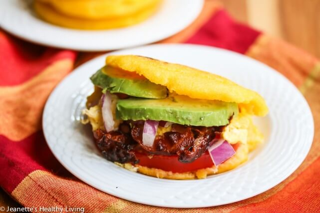 Breakfast Stuffed Arepas with Pancetta, Egg, Avocado and Tomato