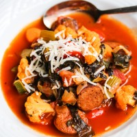 Fall Harvest Vegetable Chorizo Sausage Soup - this chunky soup is chockfull of vegetables and comfort food for the soul